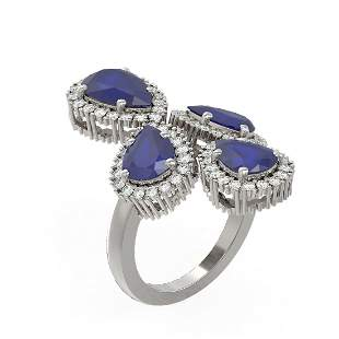 9.57 ctw Sapphire & Diamond Ring 18K White Gold -