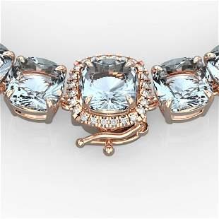 87 ctw Sky Blue Topaz & VS/SI Diamond Micro Necklace