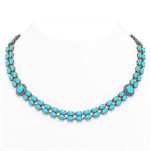 29.16 ctw Turquoise & Diamond Necklace 14K Rose Gold -
