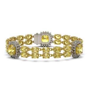 15.95 ctw Citrine & Diamond Bracelet 14K Yellow Gold -