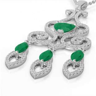5.50 ctw Emerald & Micro Pave Diamond Heart Necklace