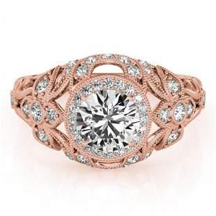 1.25 ctw Certified VS/SI Diamond Antique Ring 14k Rose
