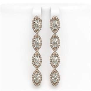 5.33 ctw Marquise Cut Diamond Micro Pave Earrings 18K