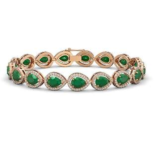 21.69 ctw Emerald & Diamond Micro Pave Halo Bracelet
