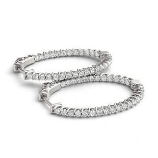 3.2 ctw Diamond VS/SI 30 MM Hoop Earrings 14k White