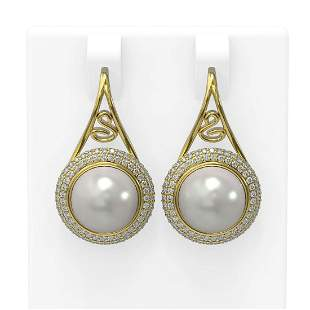 1.31 ctw Diamond & Pearl Earrings 18K Yellow Gold -