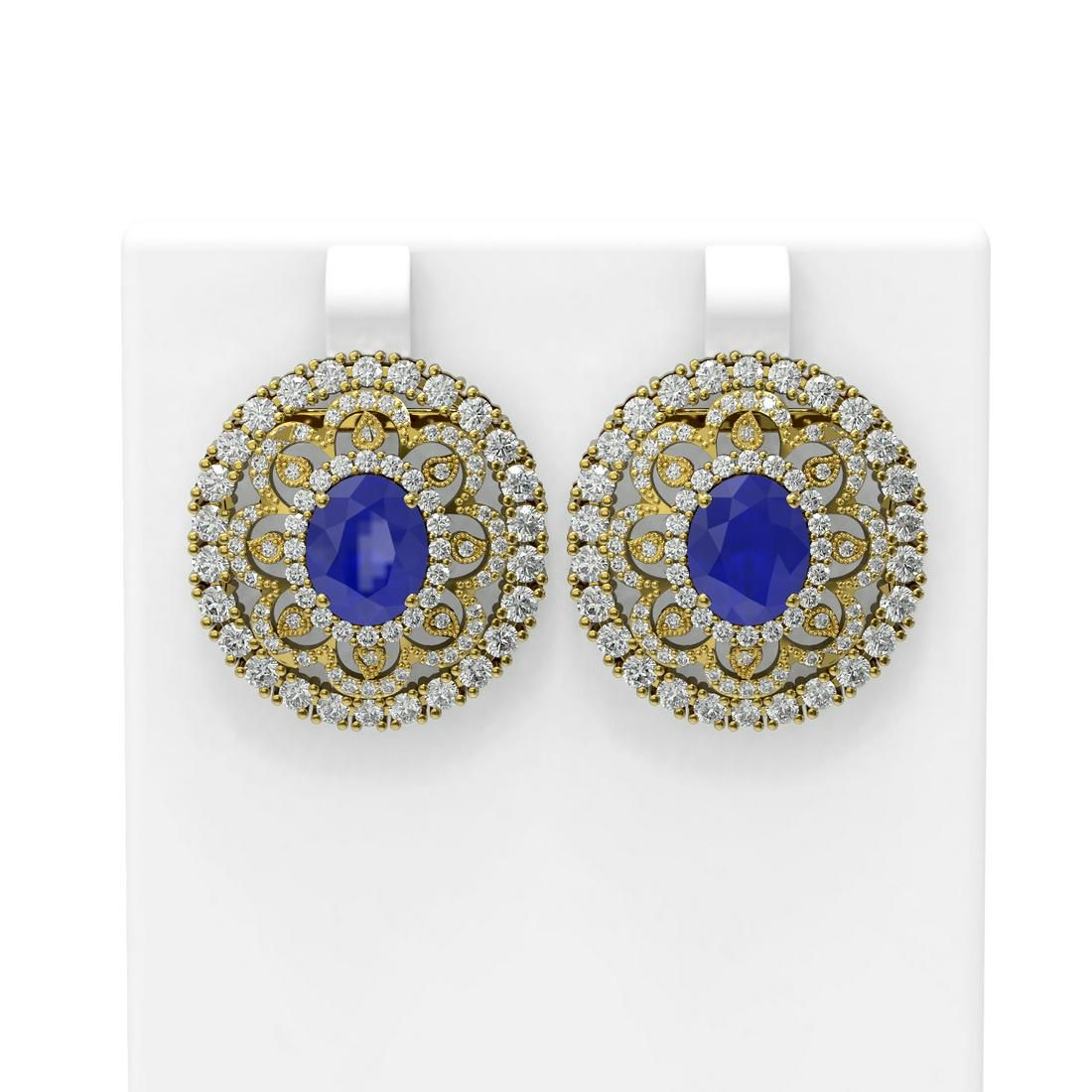 13.11 ctw Sapphire & Diamond Earrings 18K Yellow Gold -
