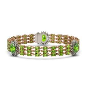 28.33 ctw Peridot & Diamond Bracelet 14K Rose Gold -