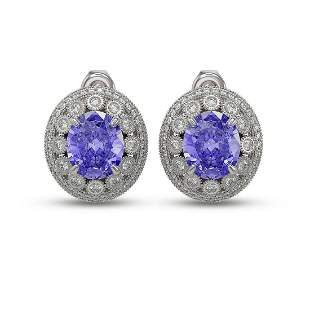 13.41 ctw Tanzanite & Diamond Victorian Earrings 14K