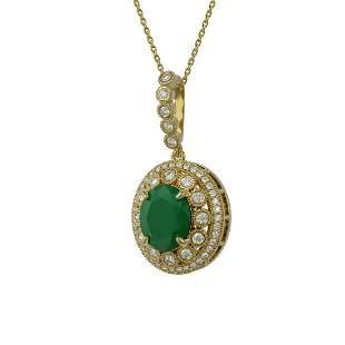 8.66 ctw Certified Emerald & Diamond Victorian Necklace