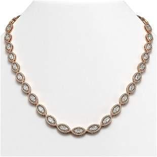 24.42 ctw Marquise Cut Diamond Micro Pave Necklace 18K