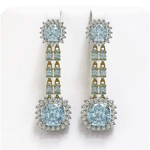 16.22 ctw Aquamarine & Diamond Earrings 14K Yellow Gold