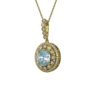 6.81 ctw Aquamarine & Diamond Victorian Necklace 14K