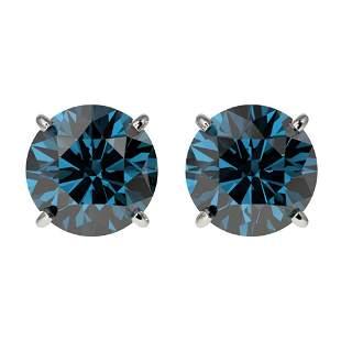 2.05 ctw Certified Intense Blue Diamond Stud Earrings