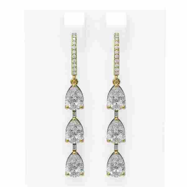 4.96 ctw Pear Diamond Earrings 18K Yellow Gold -