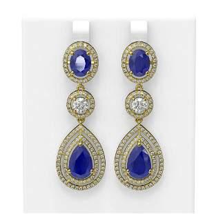 16.02 ctw Sapphire & Diamond Earrings 18K Yellow Gold -