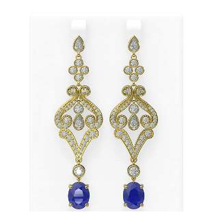 11.15 ctw Sapphire & Diamond Earrings 18K Yellow Gold -