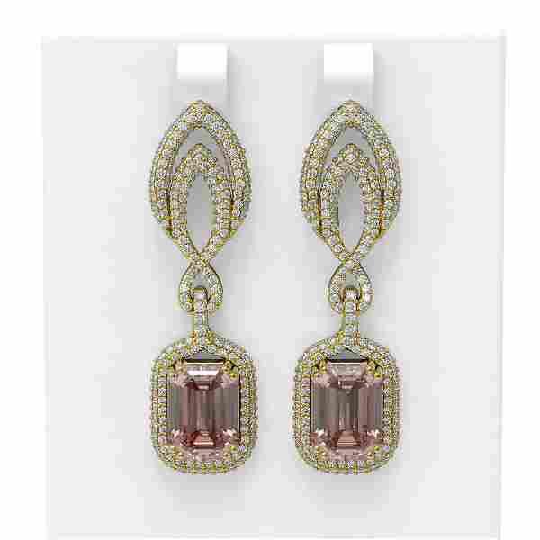 12.66 ctw Morganite & Diamond Earrings 18K Yellow Gold