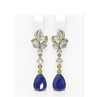 9.22 ctw Sapphire & Diamond Earrings 18K Yellow Gold -