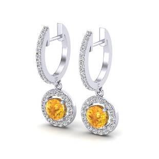 1.75 ctw Citrine & Micro Pave VS/SI Diamond Earrings