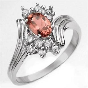 0.80 ctw Pink Tourmaline & Diamond Ring 10k White Gold