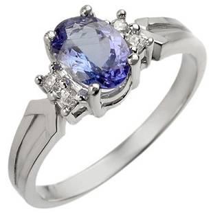 1.10 ctw Tanzanite & Diamond Ring 18k White Gold -
