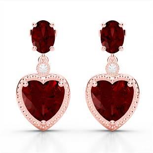 8 ctw Garnet & VS/SI Diamond Designer Heart Earrings