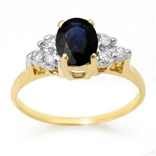 1.41 ctw Blue Sapphire & Diamond Ring 14k Yellow Gold -