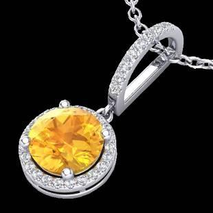 2 ctw Citrine & Micro Pave VS/SI Diamond Necklace 18k