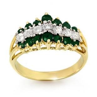 1.0 ctw Emerald & Diamond Ring 10k Yellow Gold -