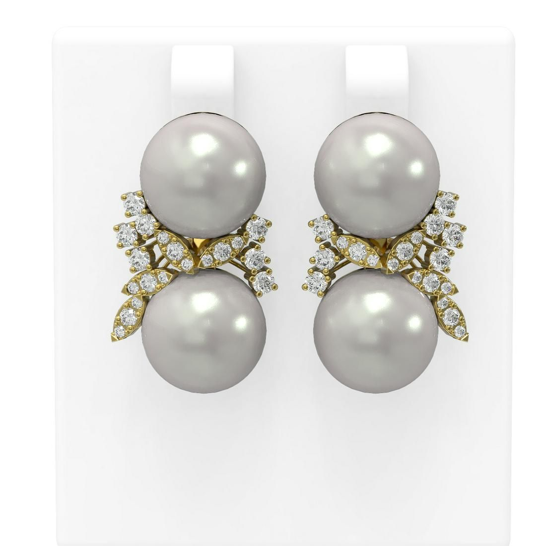 0.96 ctw Diamond & Pearl Earrings 18K Yellow Gold -