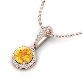 2 ctw Citrine & Micro Pave VS/SI Diamond Necklace 14k
