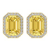8.40 ctw Citrine & Micro Pave VS/SI Diamond Earrings