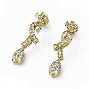 1.66 ctw Diamond Designer Earrings 18K Yellow Gold -