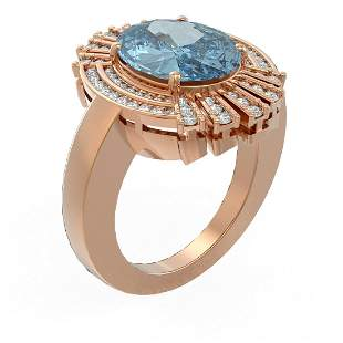 6.52 ctw Blue Topaz & Diamond Ring 18K Rose Gold -