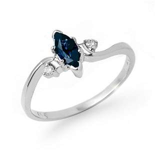 0.42 ctw Blue Sapphire & Diamond Ring 18k White Gold -