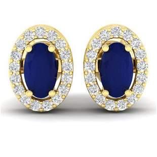 1.02 ctw Sapphire & Micro Pave VS/SI Diamond Earrings
