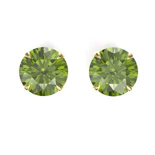 4 ctw Green Tourmaline Designer Solitaire Stud Earrings