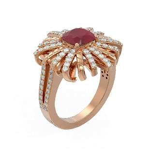 3.23 ctw Ruby & Diamond Ring 18K Rose Gold - REF-168H2R