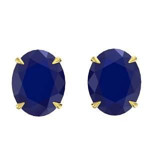 7 ctw Sapphire Designer Stud Earrings 18k Yellow Gold -