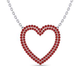 3.50 ctw RED Sapphire Heart Halo Designer Necklace 10k