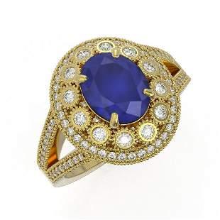 4.55 ctw Certified Sapphire & Diamond Victorian Ring