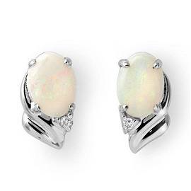 1.03 ctw Opal & Diamond Earrings 18k White Gold -