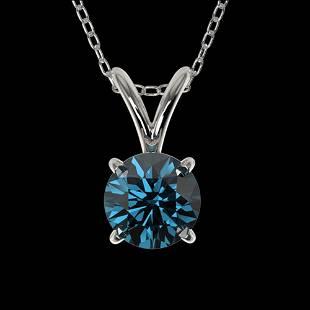 0.53 ctw Certified Intense Blue Diamond Necklace 10k