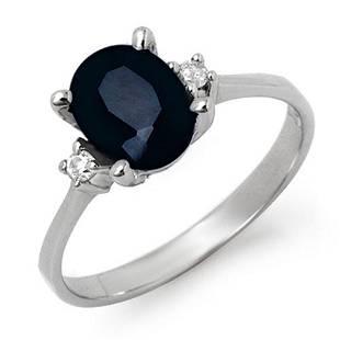 2.33 ctw Blue Sapphire & Diamond Ring 10k White Gold -