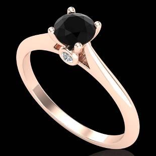 0.56 ctw Fancy Black Diamond Engagment Art Deco Ring
