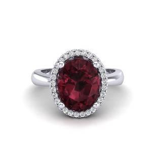 2.50 ctw Garnet & Micro Pave VS/SI Diamond Ring 18k