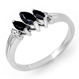 0.29 ctw Blue Sapphire & Diamond Ring 10k White Gold -