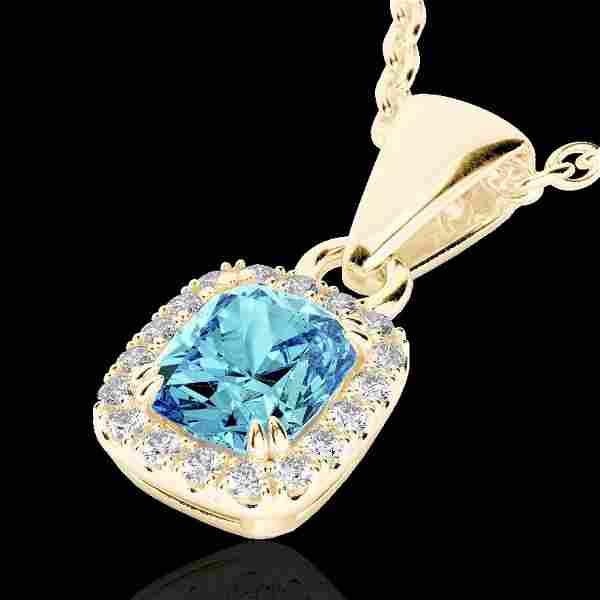 1.25 ctw Sky Blue Topaz & Micro VS/SI Diamond Necklace