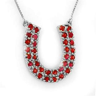 2.0 ctw Red Sapphire Necklace 14k White Gold -